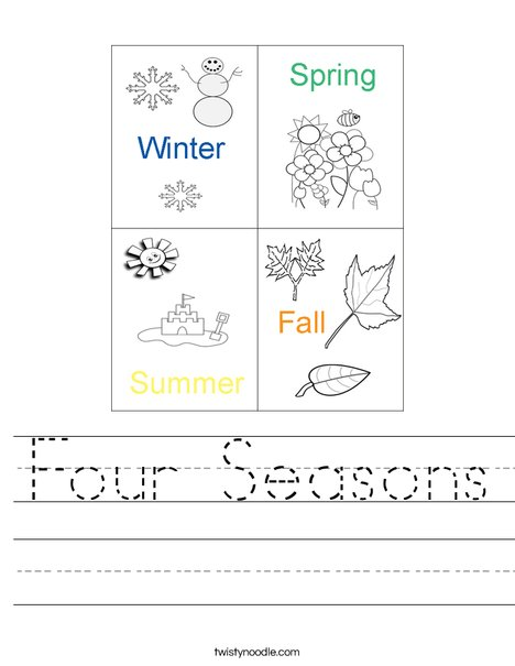 Four Seasons Worksheet - Twisty Noodle