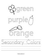 Secondary Colors Handwriting Sheet