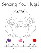 Sending You Hugs Coloring Page