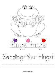 Sending You Hugs Handwriting Sheet