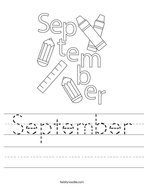 September Handwriting Sheet