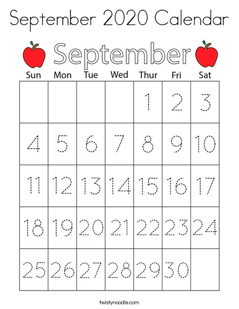 September 2020 Calendar Coloring Page