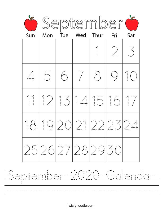 September 2020 Calendar Worksheet