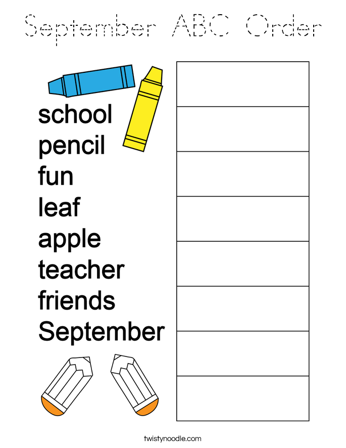 September ABC Order Coloring Page