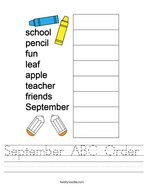 September ABC Order Handwriting Sheet