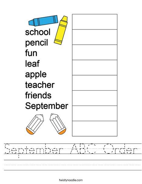 September ABC Order Worksheet