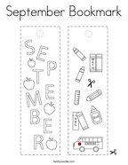 September Bookmark Coloring Page