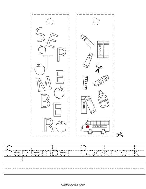 September Bookmark Worksheet