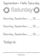 September- Hello Saturday Coloring Page