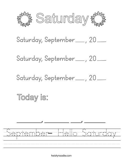 September- Hello Saturday Worksheet