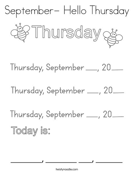 September- Hello Thursday Coloring Page