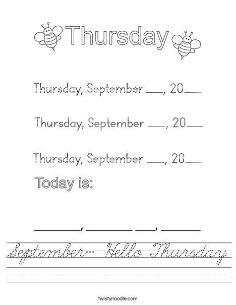 September- Hello Thursday Worksheet