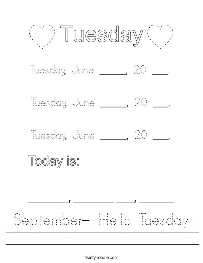 September- Hello Tuesday Worksheet