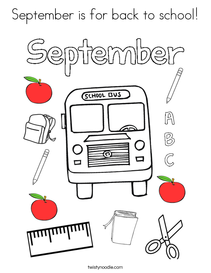 September is for back to school! Coloring Page