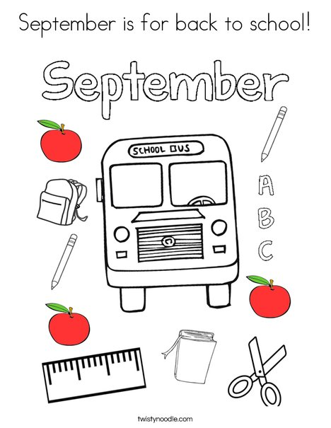 September is for back to school Coloring Page - Twisty Noodle