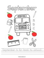 September is for back to school Handwriting Sheet