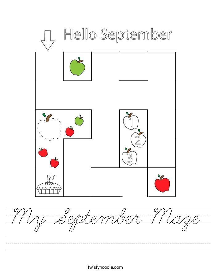 My September Maze Worksheet