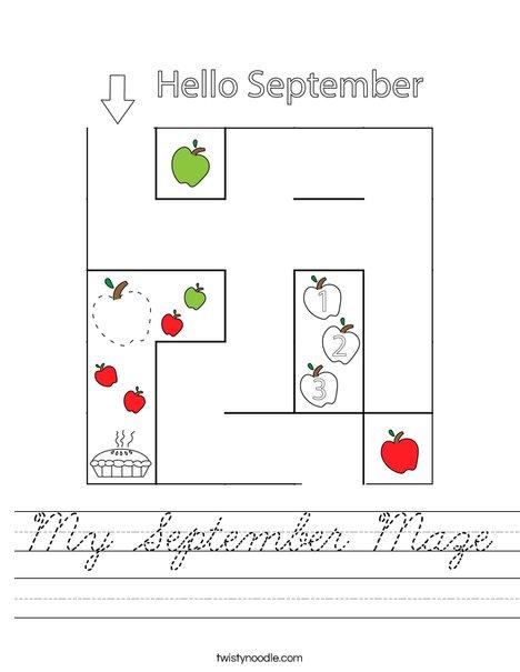 September Maze Worksheet