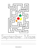 September Maze Handwriting Sheet