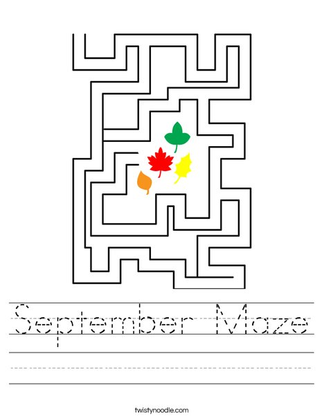 September Maze Worksheet