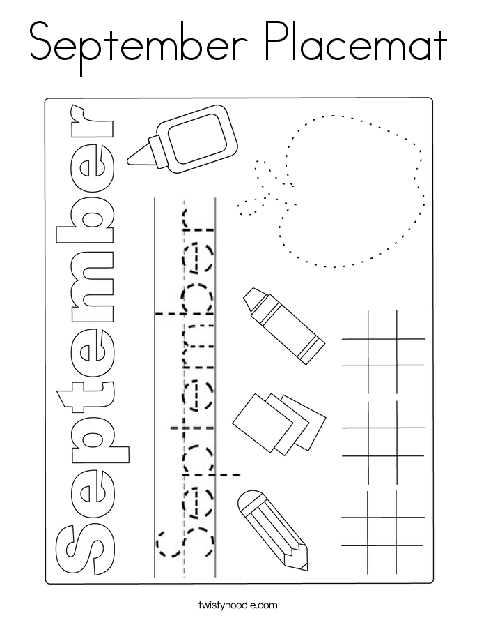 September Placemat Coloring Page