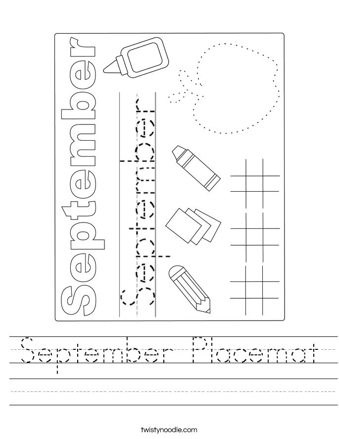 September Placemat Worksheet