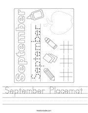 September Placemat Handwriting Sheet