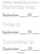 September- Yesterday, Today, and Tomorrow Coloring Page