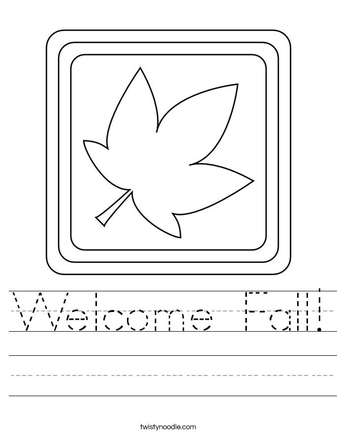 Welcome Fall! Worksheet