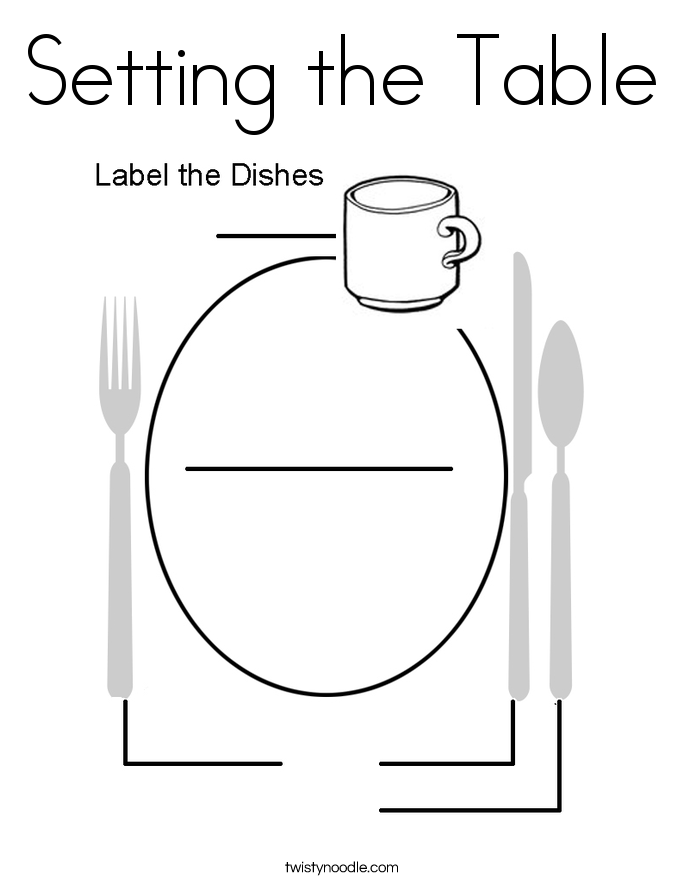 Setting the Table Coloring Page
