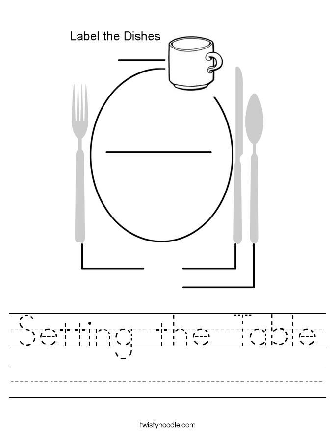 Setting the Table Worksheet