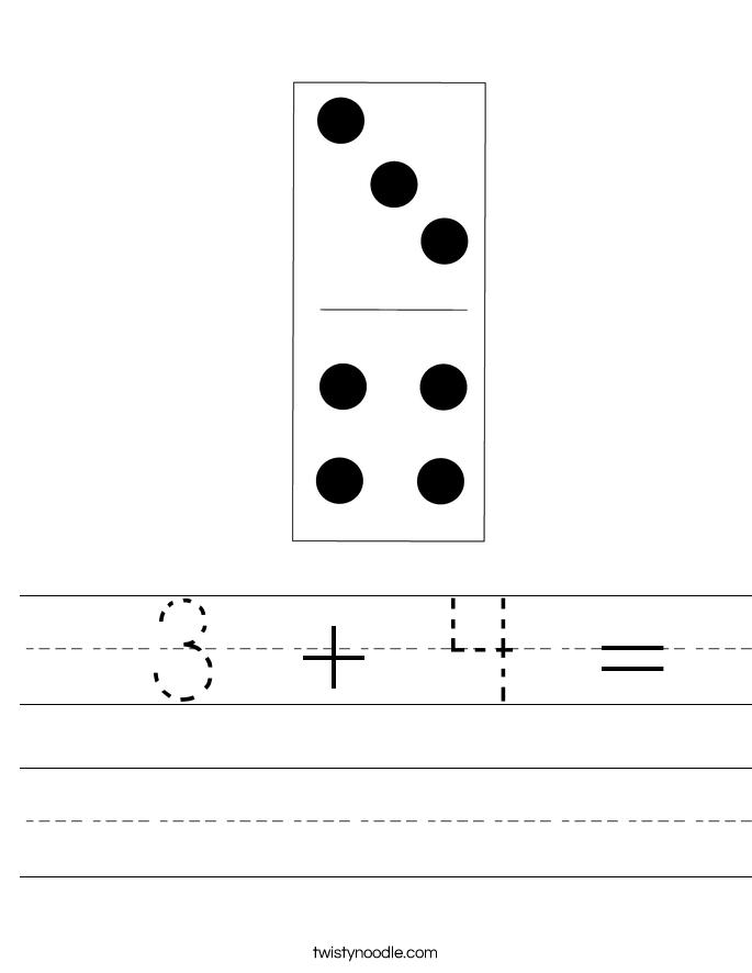 3 + 4 = Worksheet