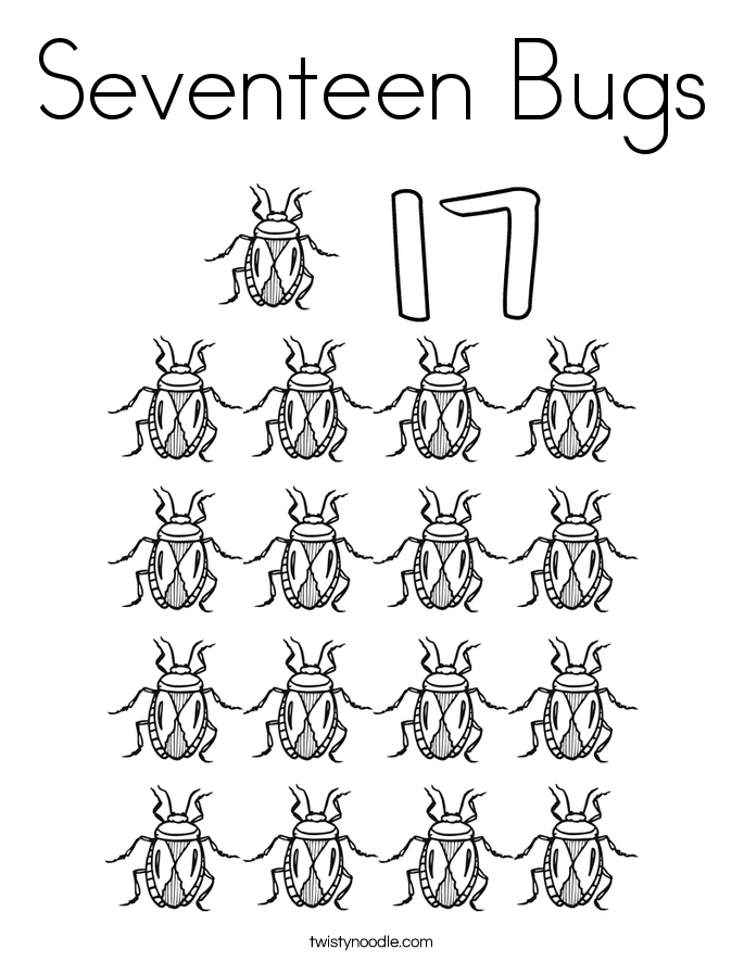 Seventeen Bugs Coloring Page