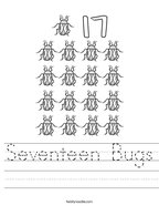 Seventeen Bugs Handwriting Sheet