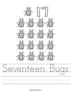 Seventeen Bugs Handwriting Sheet