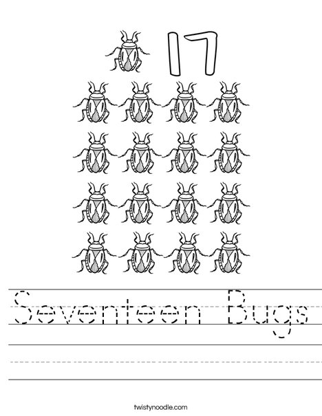 Seventeen Bugs Worksheet