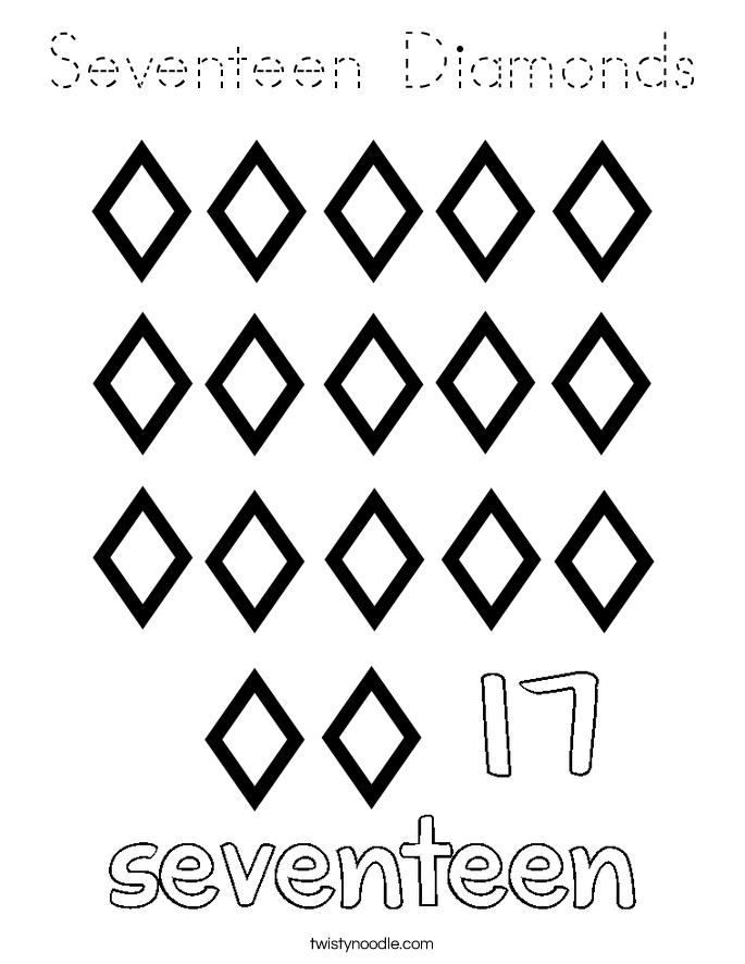 Seventeen Diamonds Coloring Page