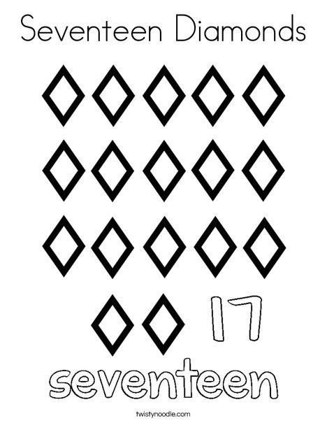Seventeen Diamonds Coloring Page