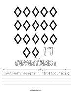 Seventeen Diamonds Handwriting Sheet