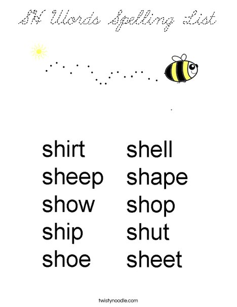 SH Words Spelling List Coloring Page