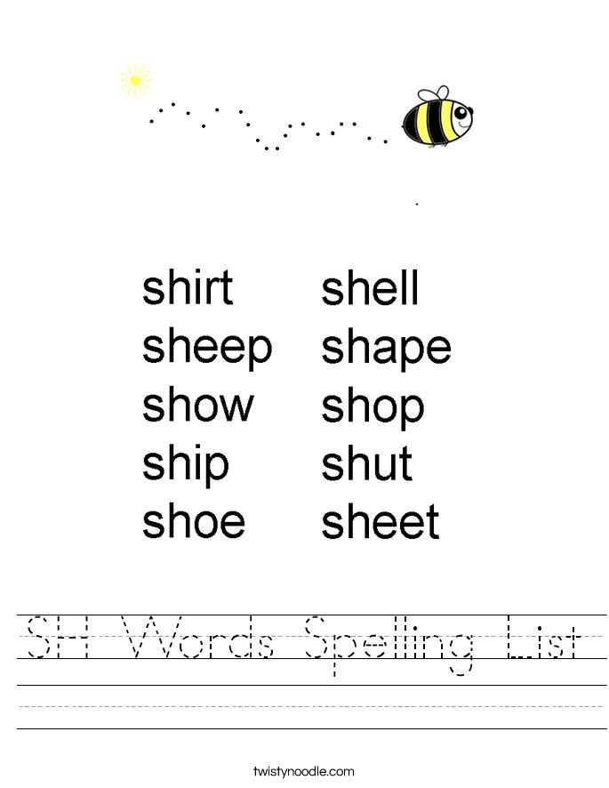 SH Words Spelling List Worksheet