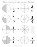 Shade the circles to make equivalent fractions Coloring Page