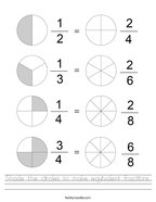 Shade the circles to make equivalent fractions Handwriting Sheet