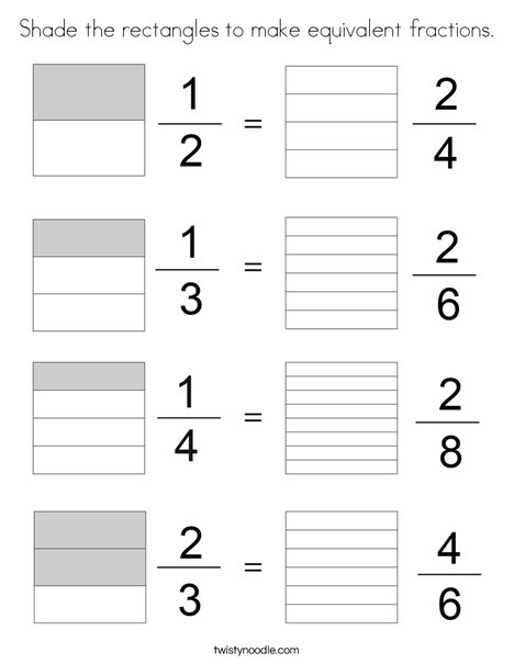 Shade the rectangles to make equivalent fractions. Coloring Page