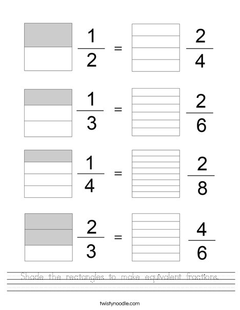 Shade the rectangles to make equivalent fractions. Worksheet