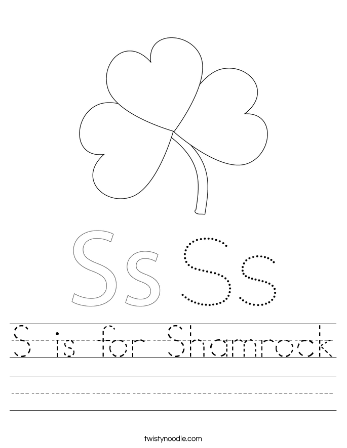 S is for Shamrock Worksheet
