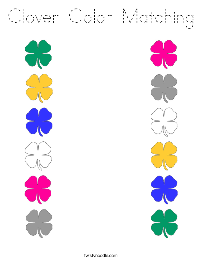 Clover Color Matching Coloring Page