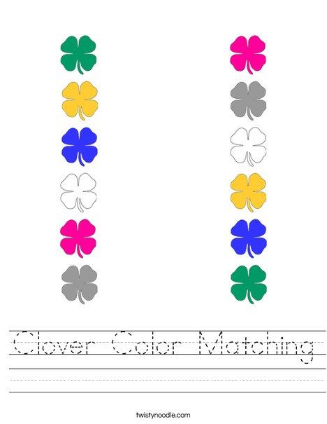 Shamrock Color Matching Worksheet
