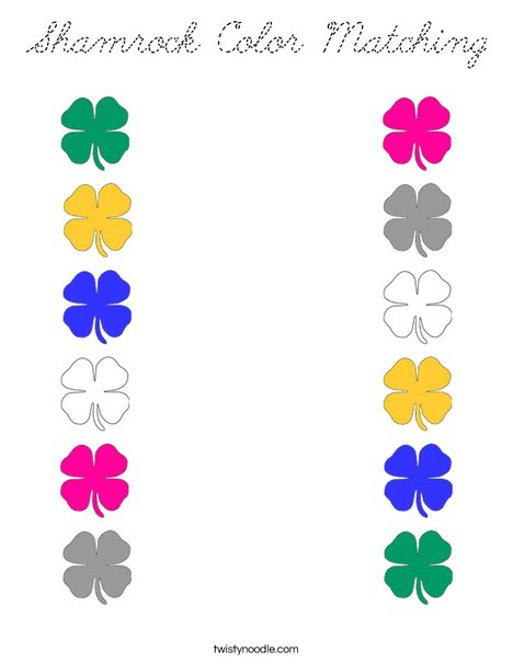 Shamrock Color Matching Coloring Page