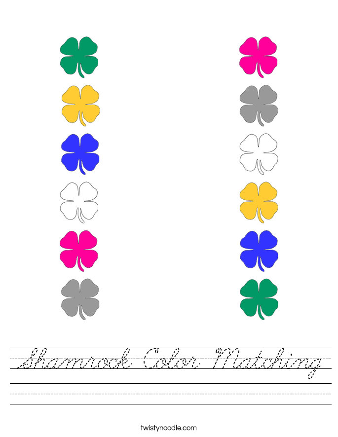 Shamrock Color Matching Worksheet